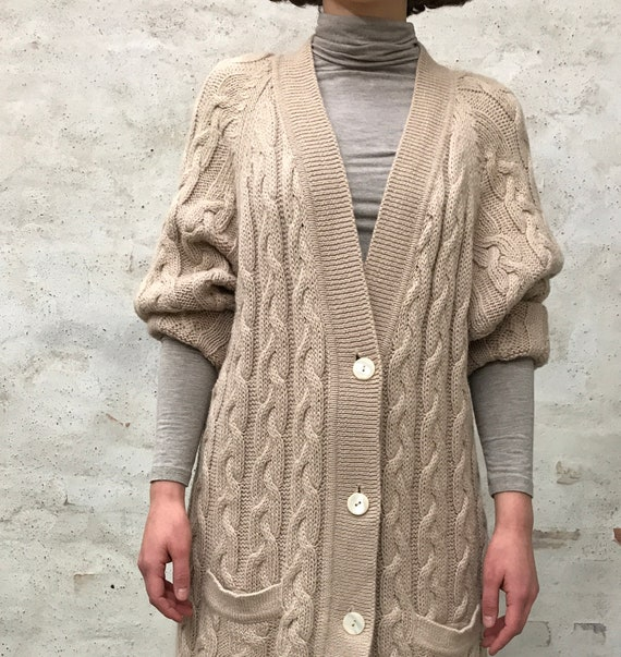 wool cable knit oversized cardigan