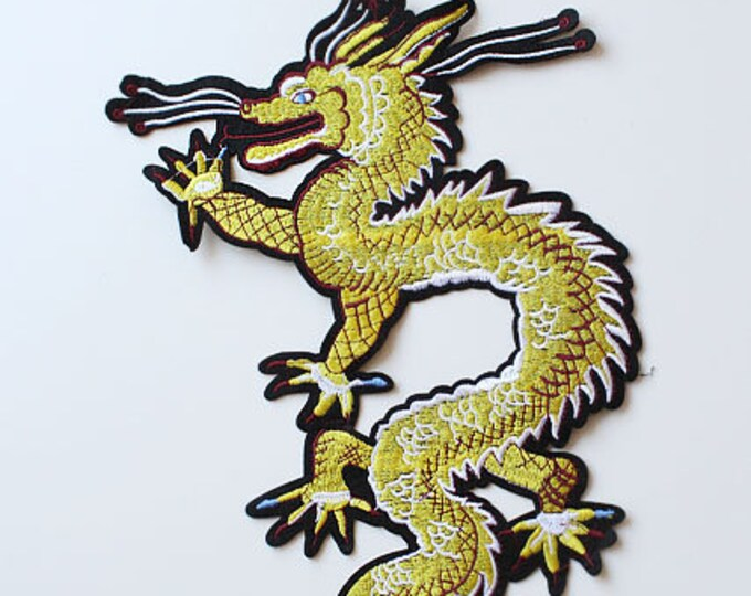 Yellow Gold Dragon Embroidered Applique, Sew on Patch