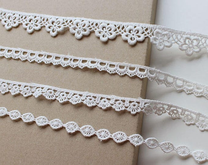 Off White 4 Various Width and Shape Cotton Lace Trim