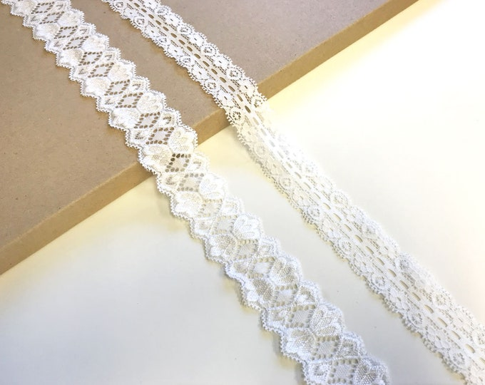 Off White 2 types of stretch lace trim scalloped
