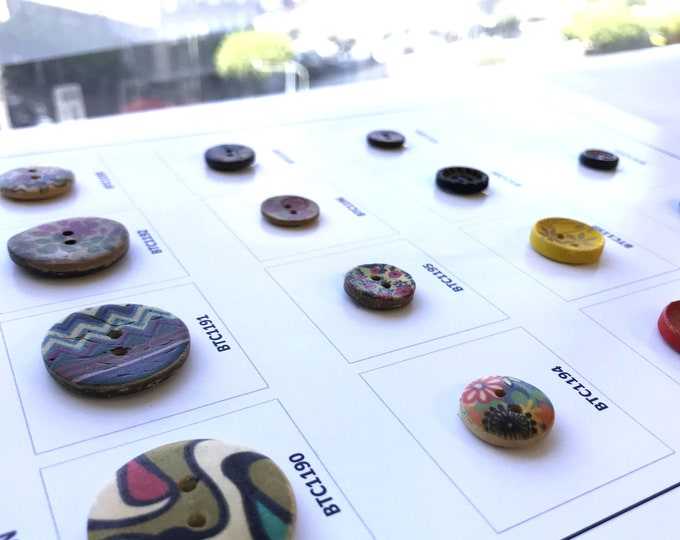 Boho Wood button collections, 10PCS/PACK, 15styles
