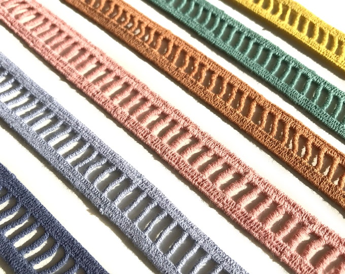 Selling per yard - 6 Colorways Cotton Lace Ladder Shape Trim 3/4""