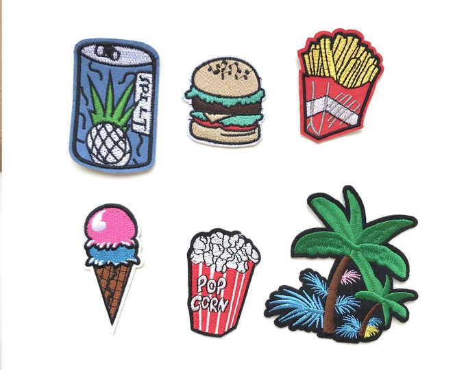 6 Various Embroidery Applique : Iron on Patch, Sew on Patch