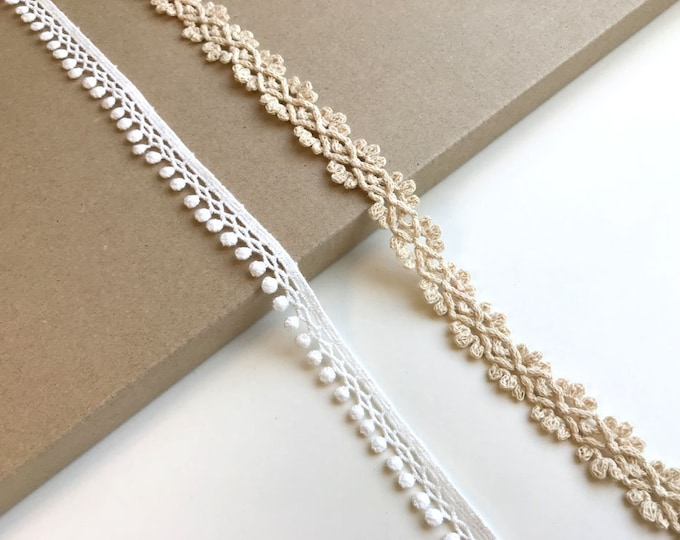 Natural, Off White 2 Various Width and Shape Cotton Lace Trim