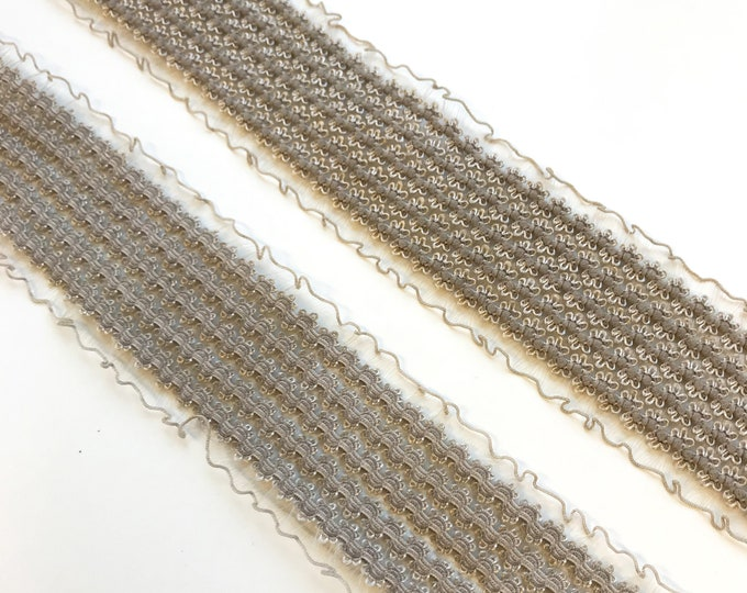 """Stretched Elastic shirring band trim, Taupe color 2"""""""