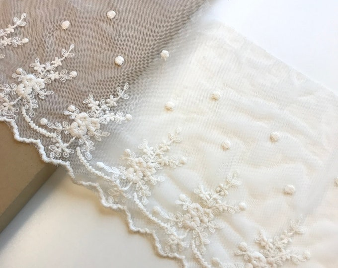 "Floral embroidered off white color 7 1/2"" cotton lace poly mesh trim (LT1)"