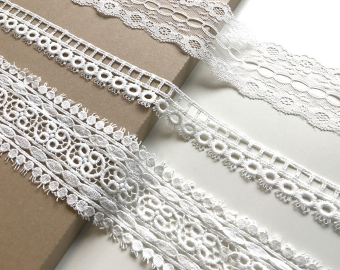 Off White 3 Various Width and Shape Cotton Lace Trim