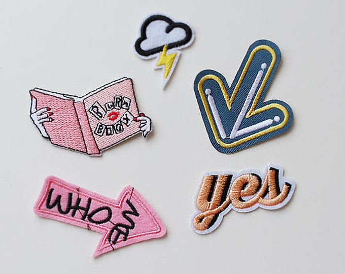 Various Embroidery Applique, Iron on Patch, Sew on Patch, Patch iron on, Lightning, Book, Arrow, Yes (PATCH 1)