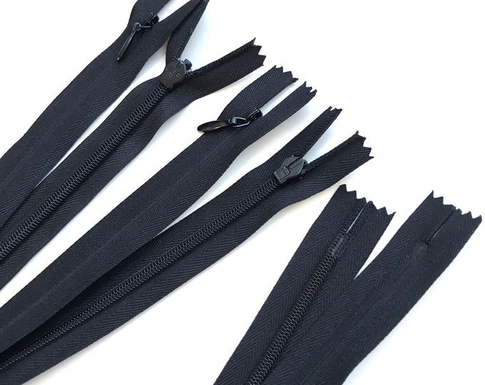 "Invisible nylon zipper pack (4 Zippers/Pack= 10"" x 2, 20"" x 2) - Black, White"