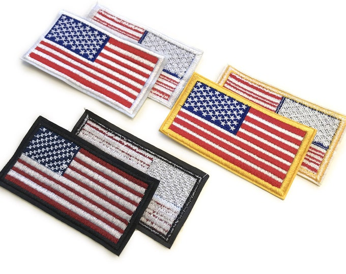 US Flag Patches(3 colorways: 6pack, 12pack) Embroidered Applique, Sew on Patch