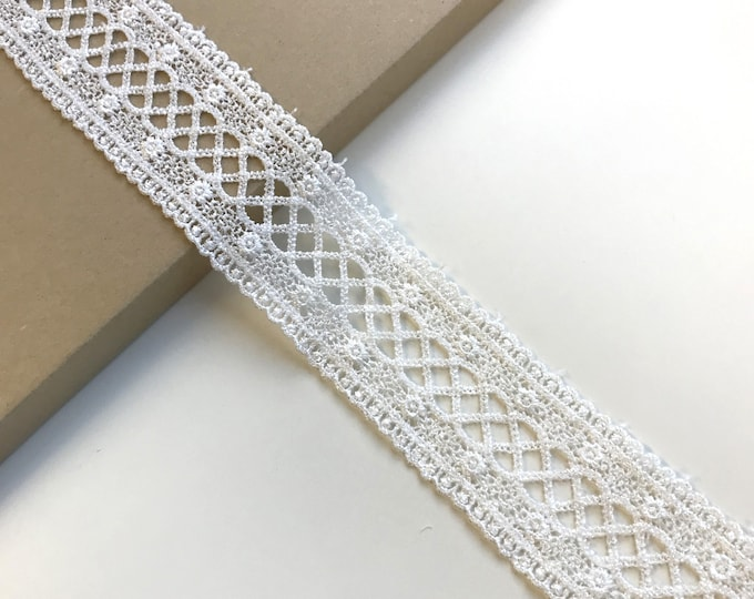 "Off white Poly lace trim 2 1/4"" (LT2)"