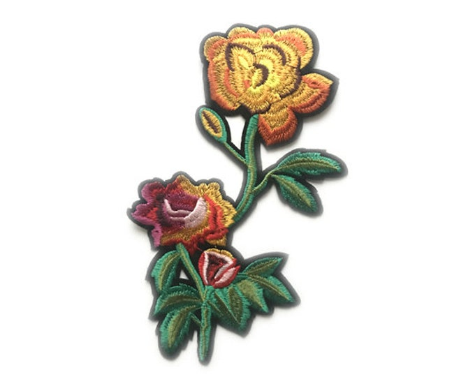 Yellow and multiple color flower Embroidered Applique, Iron on Patch