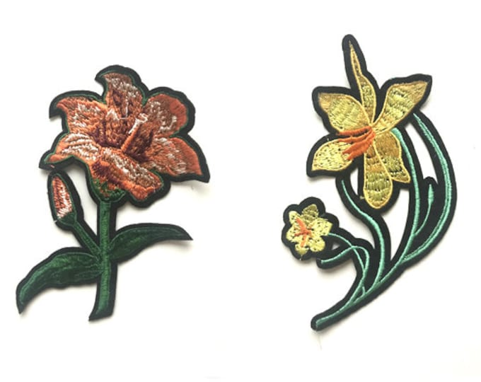 Light red and yellow flower Embroidered Applique, Sew on Patch and Iron on Patch