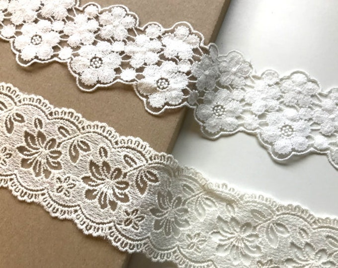 White, Natural floral 2 type of width cotton lace mesh trim