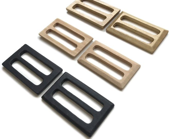 Wood rectangle buckle with inner bar