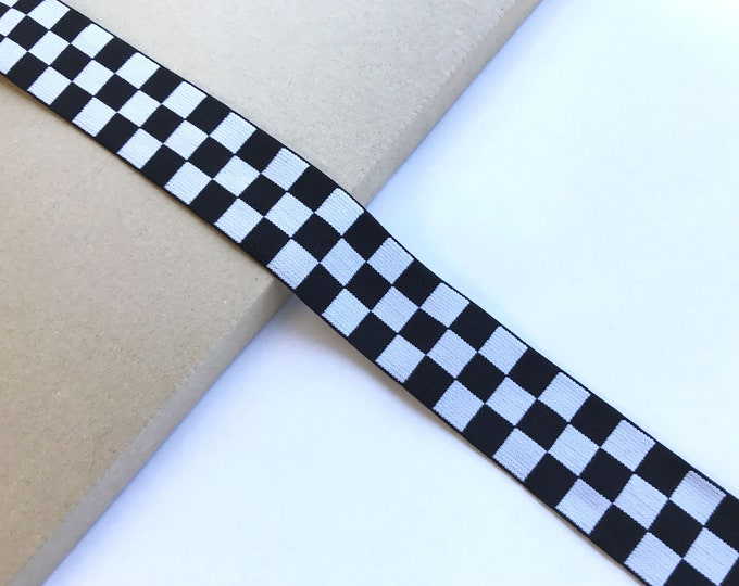 Checker board black/off white elastic band 1 5/8""