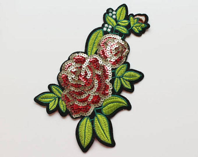 Red Flower Sequined Embroidered Applique, Sew on Patch
