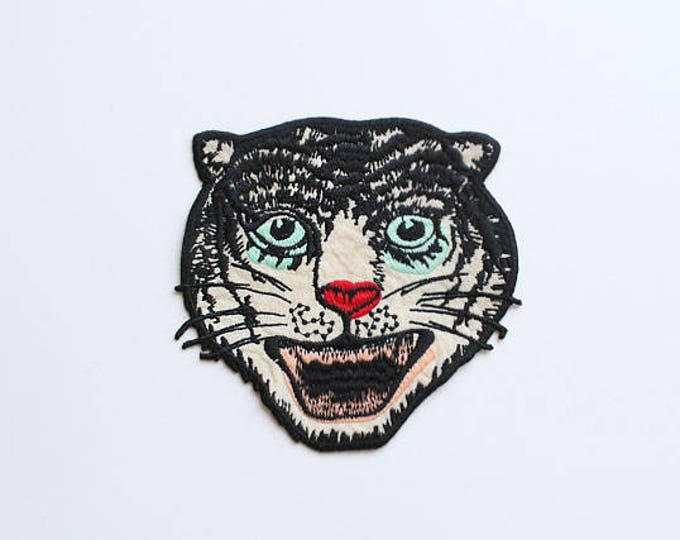 Bobcat with Green Eyes Embroidered Applique, Sew on Patch