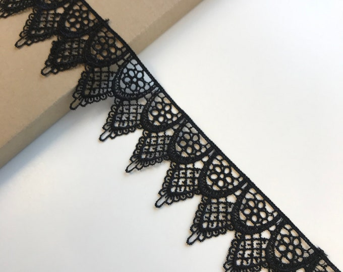 "Black 2"" poly lace trim (LT10)"
