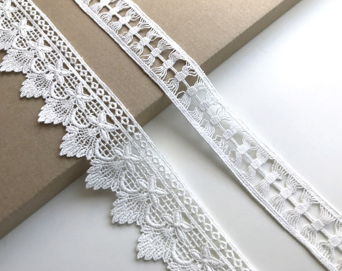 Off White 2 Various Width and Shape Cotton Lace Trim