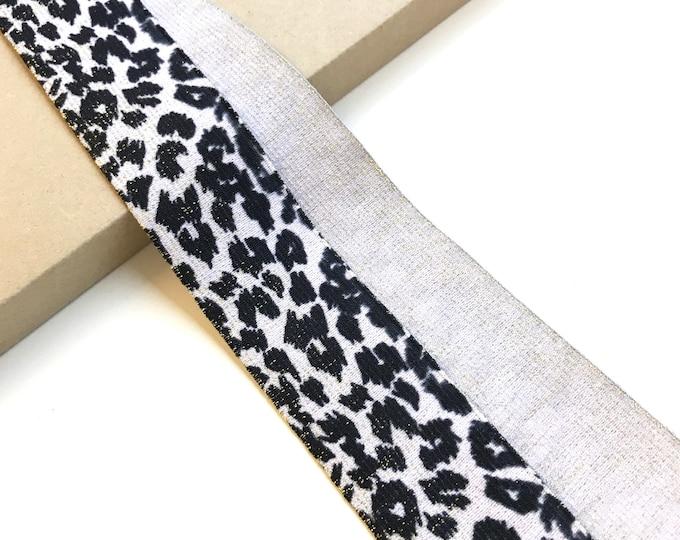 """Leopard animal with lulex elastic band trim 1 3/4"""""""