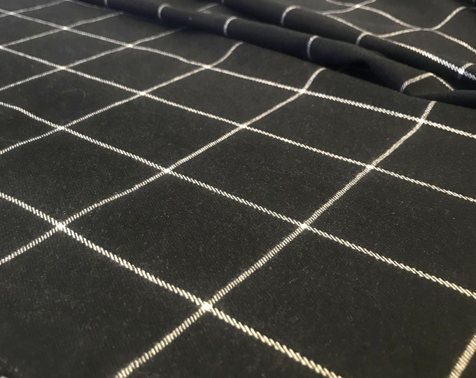"Yarn dyed plaid - Dark Navy/White window pane fabric 58/60"" (Selling per yard)"