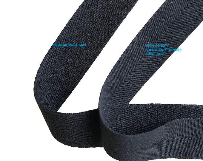 "Black Soft and fine Cotton twill tape( 1/2, 3/4, 1, 1 1/2"", 2"")"
