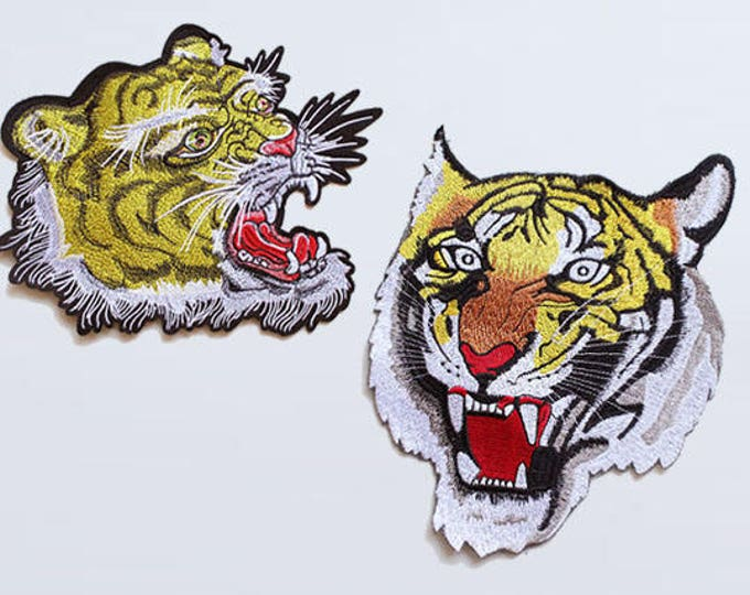 Large Tiger Face Embroidered Applique, Sew on Patch, Iron on Patch