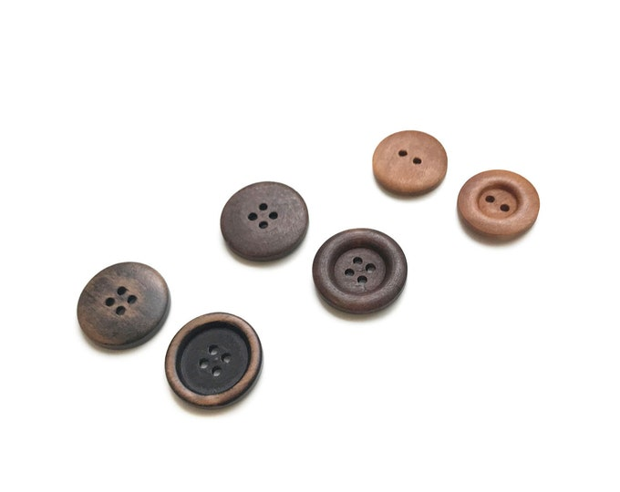 7PCS/PACK Wood buttons, 3 types