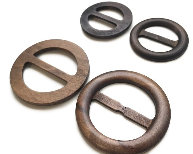 Wood Round Buckle with inner bar