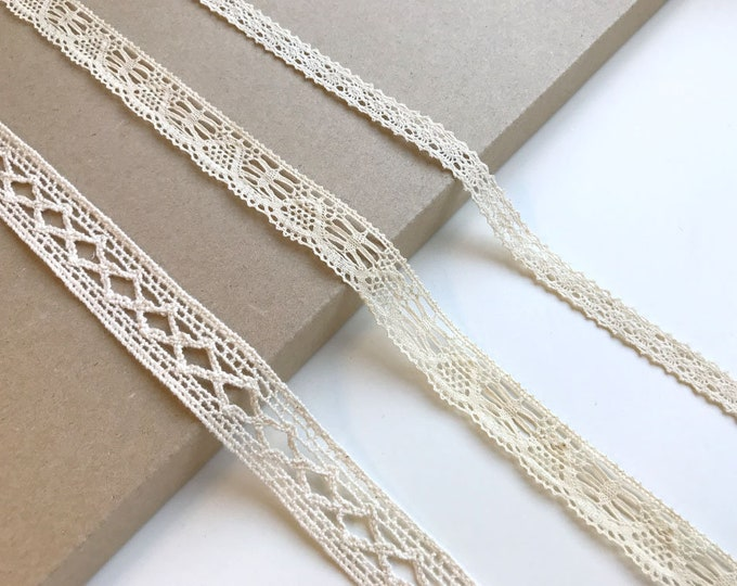 Natural 3 Various Width and Shape Lace Trim