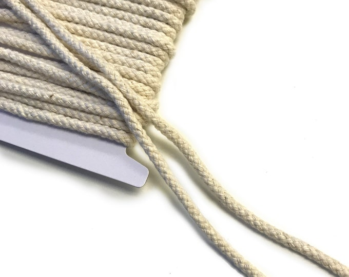"Cotton Multi Braided Draw Cord Strap Black, Natural, Off White- 1/4""(10YD/Pack)"