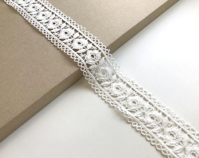 """Off White color 1 1/2"""" floral lace trim"""