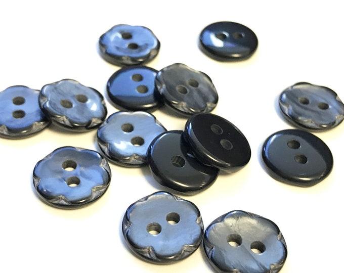 Dark Navy shiny imitation shell buttons 20 ligne