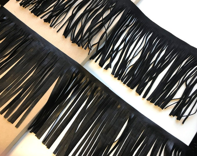 Black suede & faux leather fringes tape