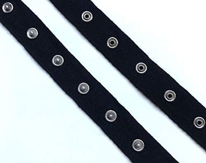 """Black, White Snap Button tape trim with 1"""" cotton tape"""