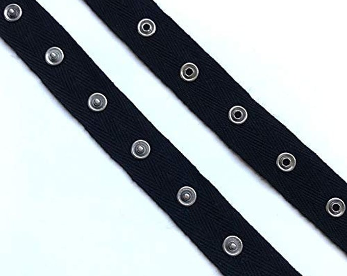 "Black, White Snap Button tape trim with 1"" cotton tape(5YD/Pack)"
