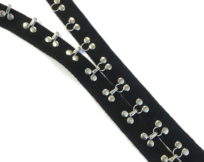 """Black hook and eye tape trim with 1"""" cotton tape(TRIM BASIC 9)"""