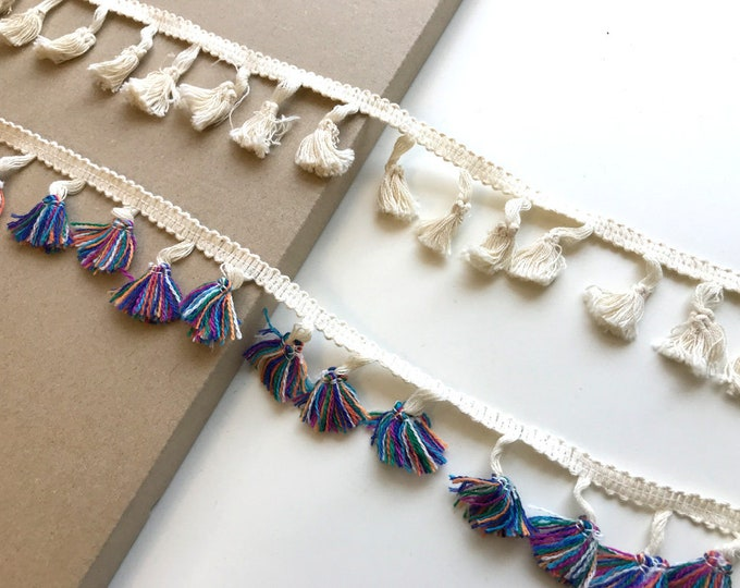 Natural & Multi fringe tassel tape