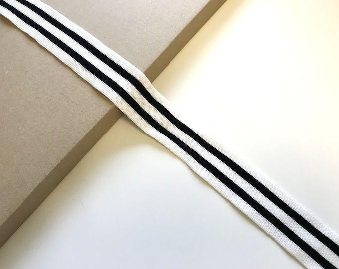 "1 1/4"" Black/White color rib band knit tape trim"