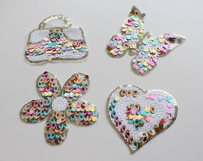 Rainbow Colored Sequined Applique, Sew on Spangle Patch, Flower, Bag, Heart, Butterfly
