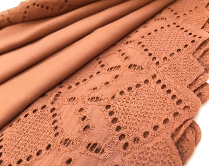 Special Price - Rust color 100% Cotton Eyelet Lace Fabric