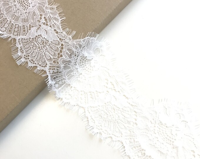 "Selling 3yds/piece: Off Whtie Eyelash 3 1/2"" Lace Trim (LT11)"