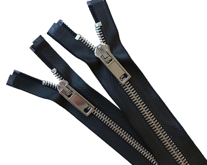 "Size#5, #8 Open Coated black tape with Shiny Silver Corn Teeth Metal Zipper - 17 1/2"" High Quality"