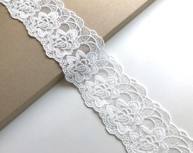 "Flower off white scallop 3"" cotton lace-mesh trim"