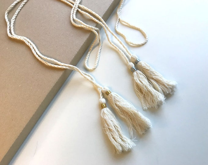 """Natural with silver, gold lurex 50"""" TASSEL CORD STRING"""