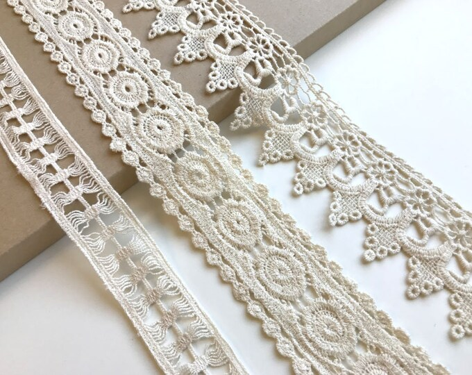 Natural 3 Various Width and Shape Cotton Lace Trim