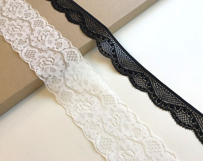 Black, Off white 2 types of stretch lace trim
