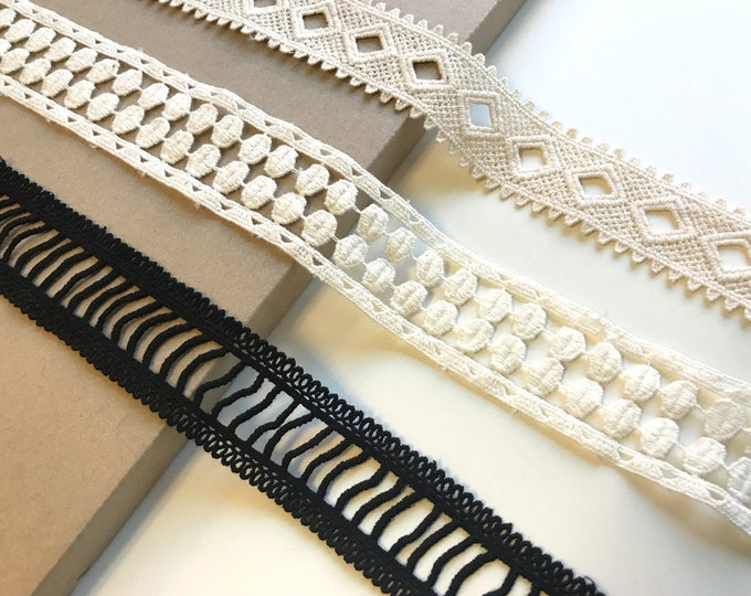 Natural, White, Black 3 Various Width and Shape Cotton Lace Trim (LT3)