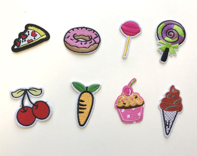 8 Various Embroidery Applique(foods), Iron on Patch, Sew on Patch